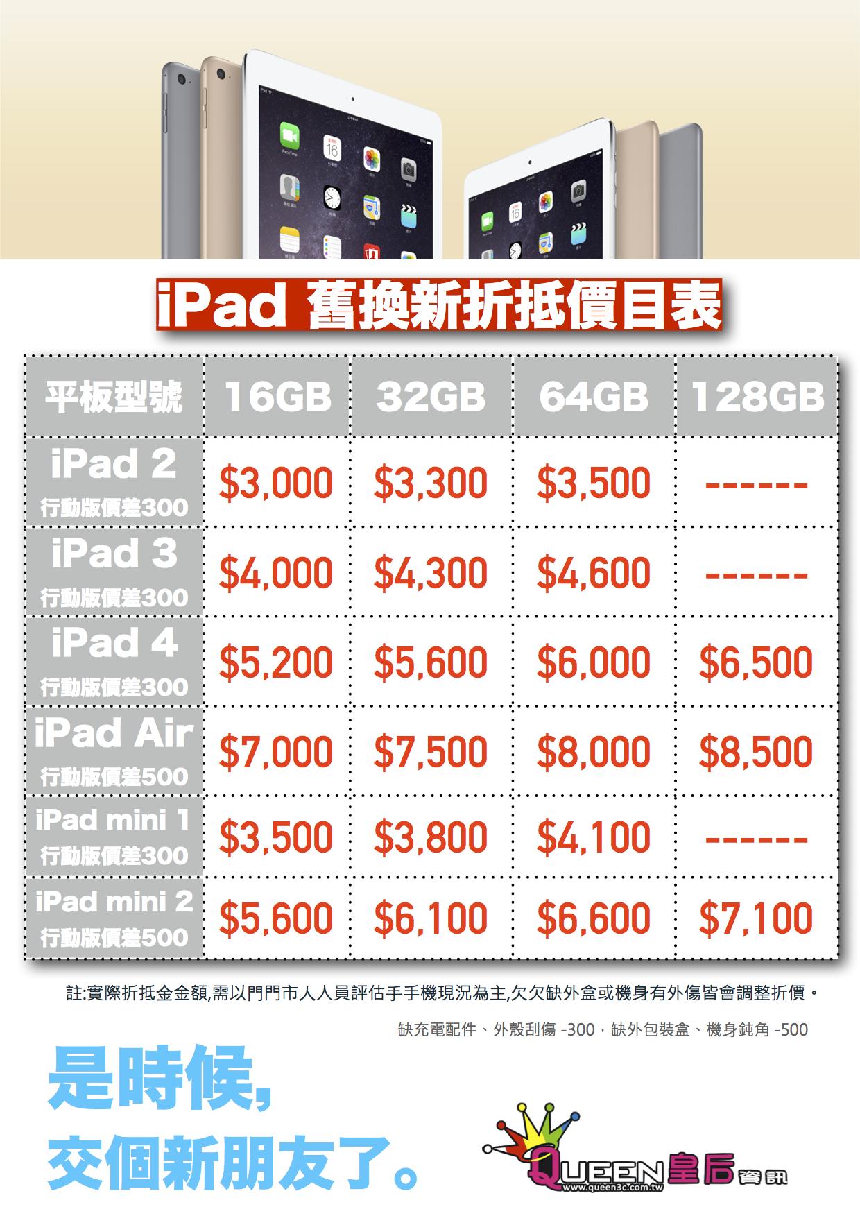 iPad Air 舊換新方案折抵